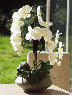 Orchids in a Grey Ceramic Bowl | RTfact | Artificial Silk Flowers