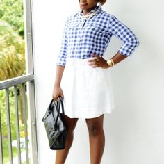 Summer work outfit with linen skirt and shirt.