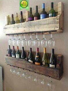 Pallet /bar- bottle and glass holder.