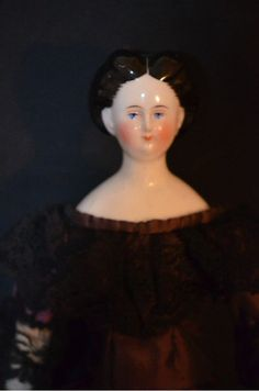 Antique Unusual China Head Doll Fancy Hair Style Braided Bun Exposed from oldeclectics on Ruby Lane