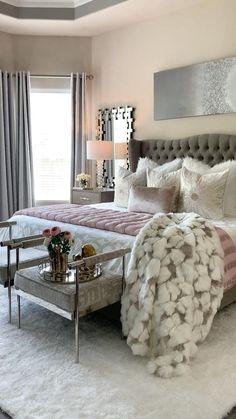 Bedroom Decor For Women, Grey Bedroom Decor, Decor Home Living Room, Glam Living Room, Bedding Master Bedroom, Glam Bedroom, Woman Bedroom, Master Bedroom Design, Bedroom Furniture