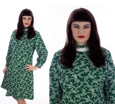 Floral Mod Dress Vintage 60s Green & White by neonthreadsdesigns, $42.00