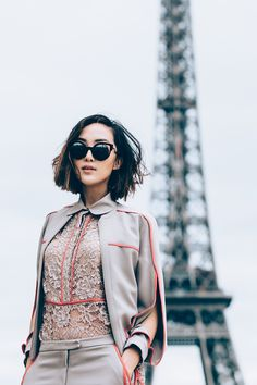 Blogger Chriselle Lim in ELIE SAAB Ready-to-Wear Spring Summer 2016 in on the streets of Paris.