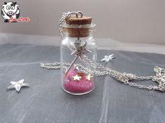 """Sautoir métal argenté et fiole en verre avec pour thème """"la fée"""""""