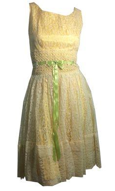 Pastel Yellow Lace Party Dress w/ Fern Green Ribbon circa 1960s
