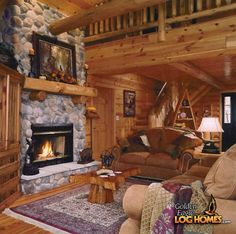 log home great room | Golden Eagle Log Homes: Log Home / Cabin Pictures, Photos, Pics ...