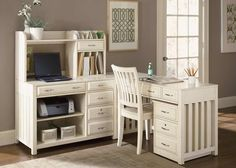 White writing desk with computer credenza, organizer hutch, and mobile file cabinet. Brushed nickel hardware.  A little bit of country style, a little bit traditional.  I absolutely love this!!
