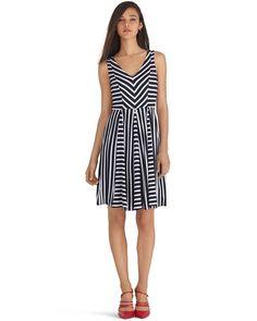 V-Neck Stripe Fit and Flare Dress - White House | Black Market