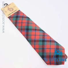 Pure wool tie in MacNaughton ancient tartan - available from ScotClans