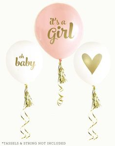 Baby Shower Party Balloons with Gold Text in Pink or Blue | BirdsParty.com