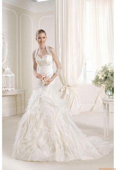 Meerjungfrau Elegante Luxuriöse Brautkleider aus Softnetz mit Stickerei