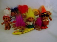 Large Lot of 11 Troll dolls DAM RUSS ACE  A USED #RUSSACEDAM