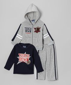 Take a look at this Gray & Navy 'Touchdown' Hoodie Set - Infant, Toddler & Boys by Angel Face on #zulily today!