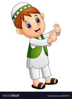 Happy muslim kid waving hand vector image on VectorStock
