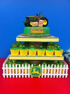My John Deere cake and grass cupcakes :)