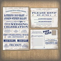 rustic wedding ikraft invitation by OhSoYouWeddings like the postcards for RSVP cards