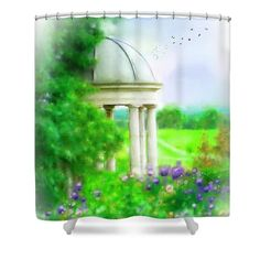 Gazebo In Kentucky Shower Curtain featuring the mixed media Privacy by Mary Timman