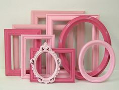 Picture Frames Set Shabby Chic Frames Pink by MountainCoveAntiques, $69.00