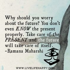 Why should you worry about the future? You don't even know the present properly. Take care of the present and the future will take care of itself. -Ramana Maharshi