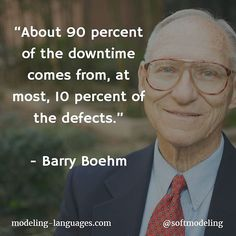 About 90 percent of the downtime comes from, at most, 10 percent of the defects - Barry Boehm #defect #error #bug #debug #testing #code #learntocode #boehm #professor #computerscience #california #university #southerncalifornia #software #softwareengineering