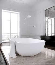 LOVE a tub in the middle of the room...no corners for mildew, etc to accumulate! #DesignForOCD