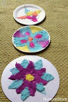 Diwali rangoli designs with colored salt Rangoli patterns for Diwali – made with coloured salt (recipe for coloured salt is given)Diwali Craft – Diwali Craft For Children, Art For Kids, Crafts For Kids, Arts And Crafts, Diwali Activities, Creative Activities, Activities For Kids, Nursery Activities, Diwali Rangoli