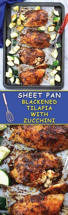 Healthy Recipes Sheet pan tilapia - a simple 30 MINS blackened tilapia with zucchini baked in sheet pan! FUSS FREE dinner ready in no time! - Fuss Free 30 Mins start to finish Sheet Pan Blackened Tilapia With Zucchini makes for a healthy Fish Recipes, Seafood Recipes, Cooking Recipes, Chicken Recipes, Easy Healthy Dinners, Healthy Recipes, Talapia Recipes Healthy, Baked Tilapia Recipes, Healthy Tilapia