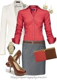 Cute outfit for work.- salmon or coral color with gray and brown accessories