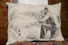 DIY Vintage Photo Pillows. Print photo on wax paper and then iron on to fabric.