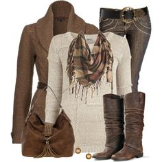 Sweater, Cardigan & Worn Leather Boots!