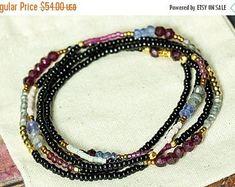 NEW YEAR SALE Tanzanite Bracelet, Garnet Bracelet, Labradorite Bracelet, Beaded Wrap Bracelet, Stretch Bracelet, Long Necklace, Beaded Brace