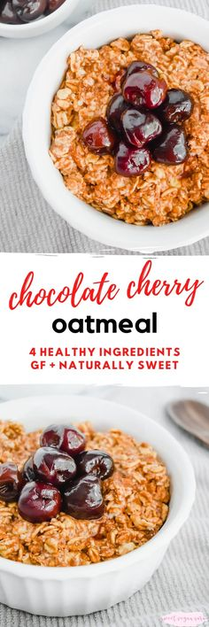 Vegan chocolate cherry oatmeal is full of cacao   cherry flavor and has the best thick and fluffy texture! A super healthy and satisfying way to start the day, made with just 4 healthy ingredients. #oats #oatmeal #breakfast #veganbreakfast #veganoatmeal #healthybreakfast #healthyoatmeal #plantbased #plantbasedbreakfast Vegan Oatmeal, Chocolate Oatmeal, Chocolate Cherry, Vegan Chocolate, Chocolate Recipes, Whole Food Recipes, Vegan Recipes, Vegan Desserts, Brunch Recipes