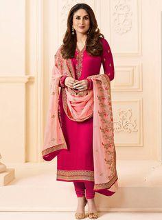 Kareena Kapoor Magenta Georgette Churidar Salwar Suit 114077 Indian Salwar Kameez, Churidar Suits, Anarkali Suits, Indian Dresses, Indian Outfits, 5 Rs, Indian Clothes Online, Bollywood Dress, Bollywood Stars