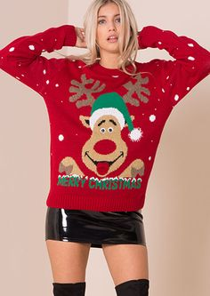 Red Rudolph 3D Eyes Knitted Christmas Jumper