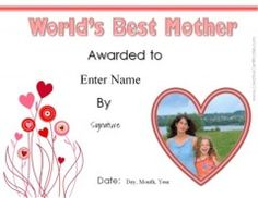 mothers day printable certificate mother days pinterest