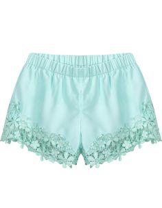 Green Elastic Waist Floral Crochet Shorts - Sheinside.com