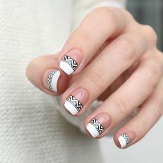 Black and white tribal french nails | Mari's Nail Polish Blog