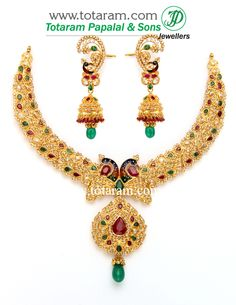 22K Gold 'Peacock' Necklace & Ear Hangings Set with Uncut Diamonds,Ruby & Emerald.