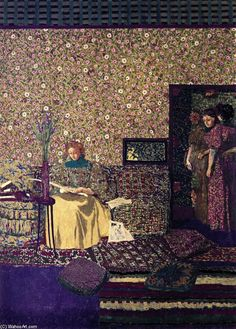 Figures in an Interior: Intimacy, Painting by Edouard Vuillard (1868-1940, France)
