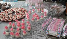 90th Birthday Party: Dessert Bar - Cupcakes,  Cake Balls, Rice Krispy Treats, Chocolate covered Pretzel Rods, and Hershey's Chocolate Candy Bars.