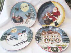 David Carter Brown Holiday Set of 4 Dinner Plates Merry Little Christmas Sakura
