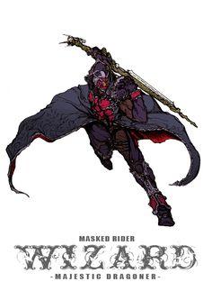 仮面ライダーウィザード-MAJESTIC DRAGONER- by ZakkiZaki Kamen Rider Wizard, Kamen Rider Series, Character Concept, Character Art, Robot Concept Art, Sci Fi Characters, Fanart, Action Poses, Shadowrun