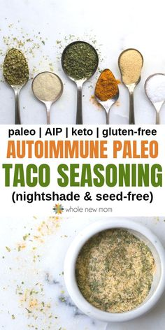 AIP (Autoimmune Protocol) Taco Seasoning ~ nightshade and seed-free It's hard to give up things like tacos when you go on AIP. This autoimmune protocol taco seasoning (AIP Taco Seasoning) is free of nightshades & seeds. Autoimmun Paleo, Paleo Tacos, Paleo Food, Paleo Meals, Paleo Taco Seasoning, Nightshade Free Recipes, Nightshade Vegetables, Allergies Alimentaires, Whole Food Recipes