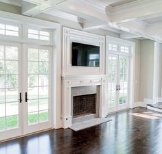 shiplap fireplace between french doors - Google Search
