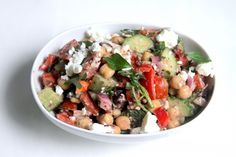 greek chickpea salad with kalamata olive vinaigrette from baker by nature