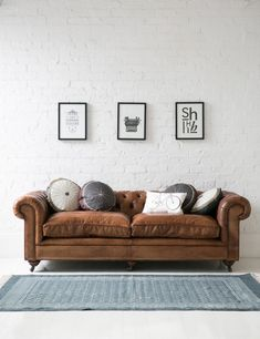 Tips That Help You Get The Best Leather Sofa Deal. Leather sofas and leather couch sets are available in a diversity of colors and styles. A leather couch is the ideal way to improve a space's design and th Tan Leather Sofas, Leather Chesterfield, Leather Furniture, Home Furniture, Brown Leather, Chesterfield Sofas, Distressed Leather Couch, Leather Cushions, Italian Furniture