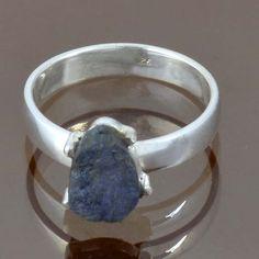 NEW FASHION 925 STERLING SILVER POPULAR TANZENITE ROUGH RING 3.86g R9161 SZ-9 #Handmade #Ring