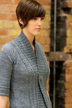 Rivel Cardigan.  I would make this with long sleeves. I am not a short sleeve sweater gal, but that's just me!