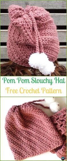 Crochet Fabcroc Slouchy Hat Free Patterns -Crochet Slouchy Beanie Hat Free Patterns