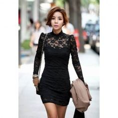 $7.86 Slimming High Neck Ladylike Puff Sleeve Black Lace Dress For Women Classical!